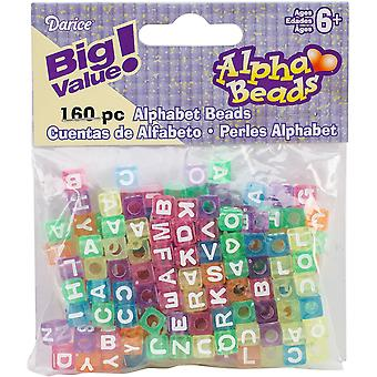 Alphabet Beads 7mm 160/Pkg-Transparent Multicolored 0791-18