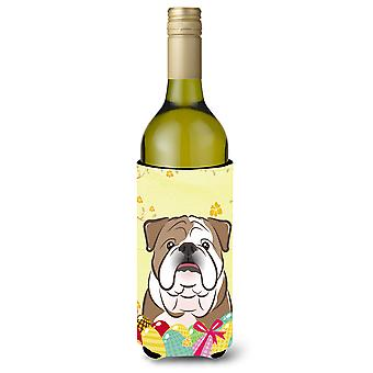 English Bulldog  Easter Egg Hunt Wine Bottle Koozie Hugger BB1901LITERK