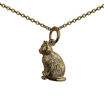 9ct Gold 5x15mm hollow sitting Cat Pendant with a cable Chain 16 inches Only Suitable for Children