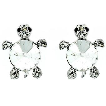 Clip On Earrings Store Silver  and  Crystal Turtle Clip On Earrings