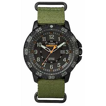 Timex Mens Gallatin Green Fabric Strap Black Dial TW4B03600 Watch