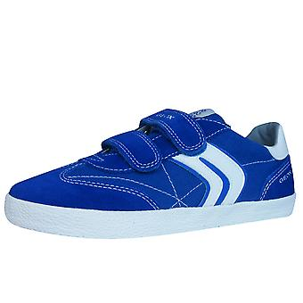 Geox J Kiwi B.M Boys Canvas and Suede Trainers / Shoes - Blue