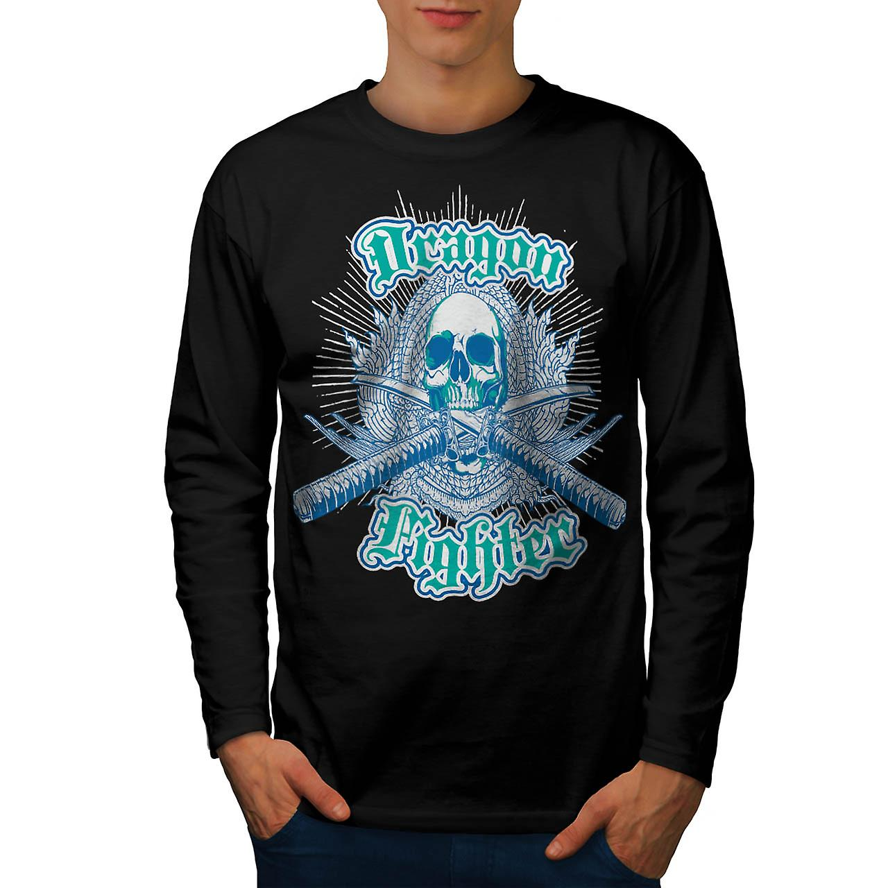 Dragon Fighter Skull Samurai Mob Men Black Long Sleeve T-shirt | Wellcoda
