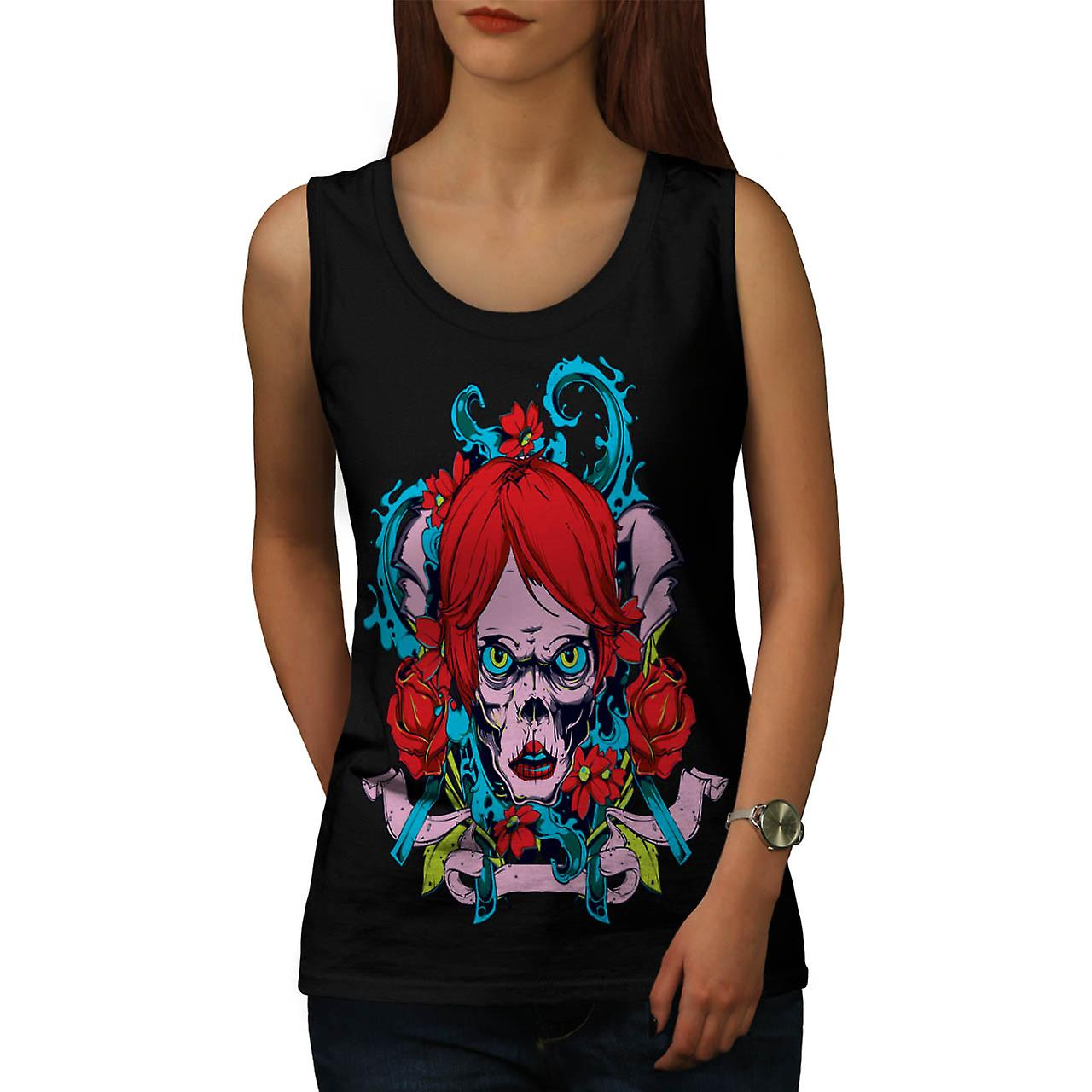 Horror Girl Octopus Zombie Lady Women Zwart Tank Top | Wellcoda