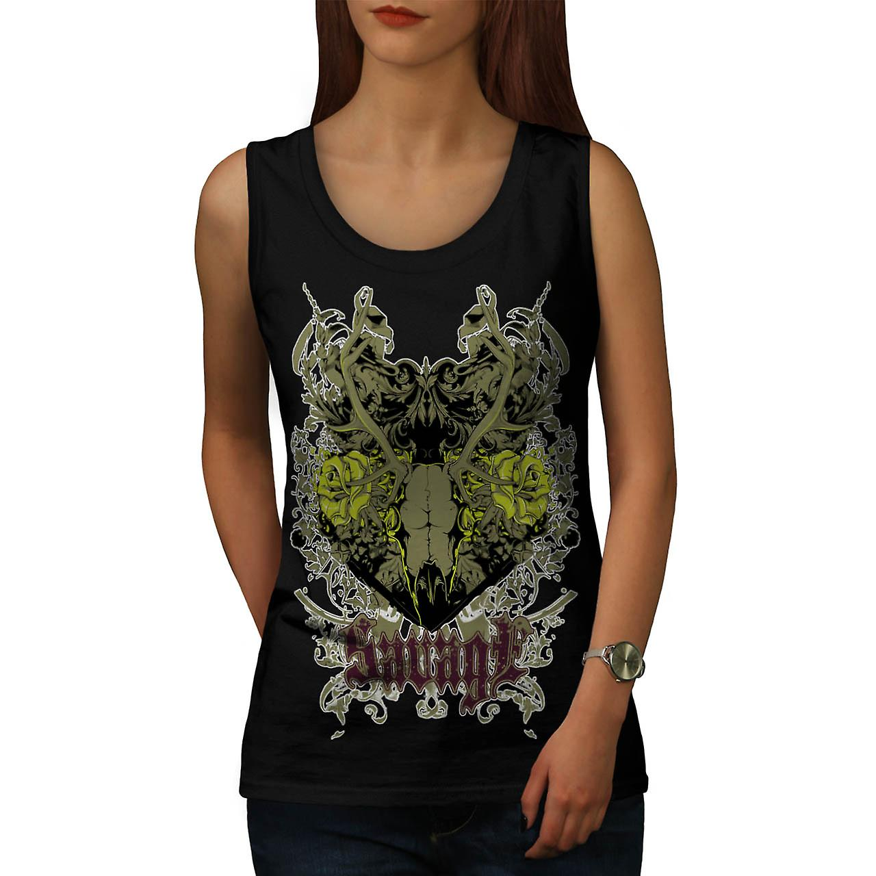 Savage Animal Skull Goat Head Women Black Tank Top | Wellcoda
