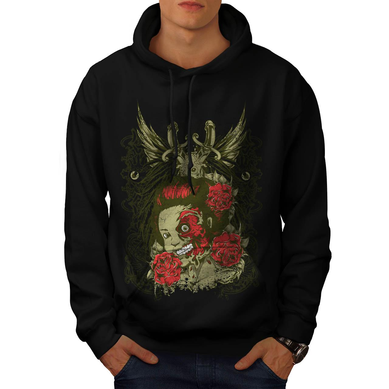 Half Face Monster Gal Head Flesh Men Black Hoodie | Wellcoda