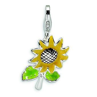Sterling Silver 3-D Enameled Sunflower With Lobster Clasp Charm - 2.2 Grams - Measures 25x14mm