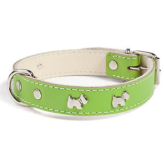 Doggy Things Westie Leather Dog Collar Green 45cm