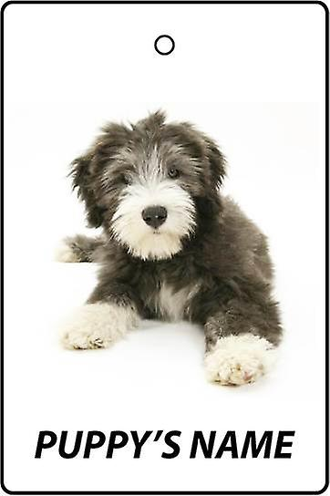 Gepersonaliseerde Bearded Collie Puppy auto luchtverfrisser
