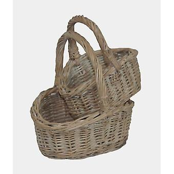 Shopping Basket Childs White Wash Shopper Set 2