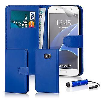 Boek portemonnee geval + stylus voor de Samsung Galaxy S7 (SM-G930) - Deep Blue