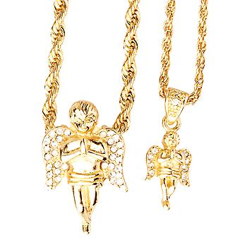 Iced out bling mini chain pendant set - 2 x Angel gold