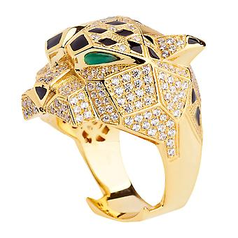Sterling 925er Silber Micro Pave Ring - XXL ANIMAL gold