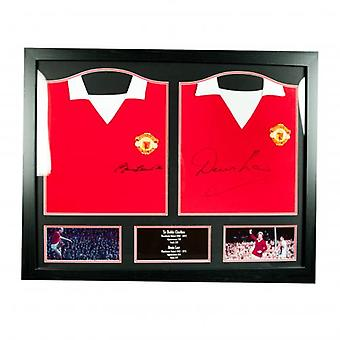 Manchester United Charlton & Law Signed Shirts (Dual Framed)