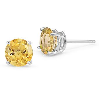 Citrine Stud Earrings, 14K White Gold