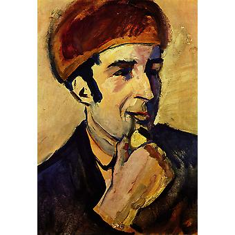 August Macke - portret van Franz Marc Poster Print Giclee