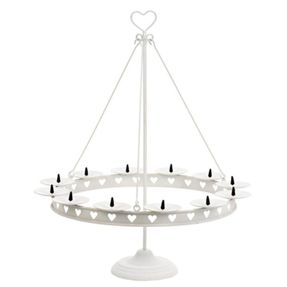 Heart - Scandi Metal 2ft High / 12 Candle Holder With Cut Out Hearts - White