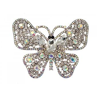 W.A.T Sparkling Clear And AB Crystal Big Butterfly Ring