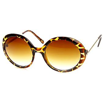 Womens Oversized Fashion Metal Arm Circle Round Sunglasses