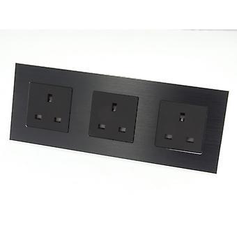 I LumoS Luxury Unswitched Black Brushed Aluminium UK 13A Wall Plug Triple Socket