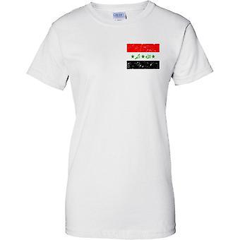 Irak lamentando Grunge efecto bandera diseño - diseño de pecho de las señoras camiseta