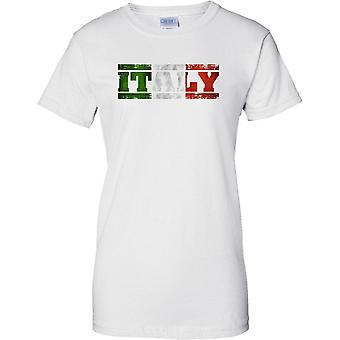 Italy Grunge Country Name Flag Effect - Tricolore - Ladies T Shirt