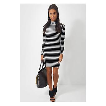 The Fashion Bible Reva Turtle Neck Stripe Mini Dress