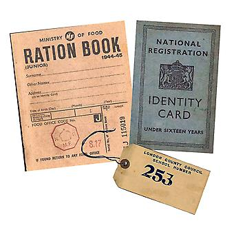 WW2 Replica Ration Book, Evacuee Tag and Children's Identity Card - Teaching Aids or Props