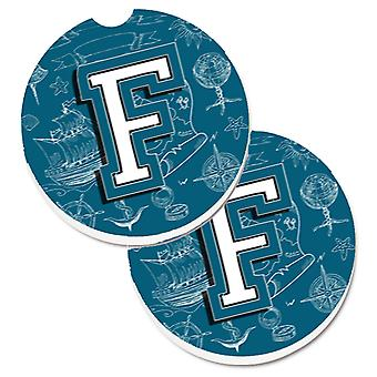 Letter F Sea Doodles Initial Alphabet Set of 2 Cup Holder Car Coasters