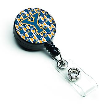 Letter Y Football Blue and Gold Retractable Badge Reel