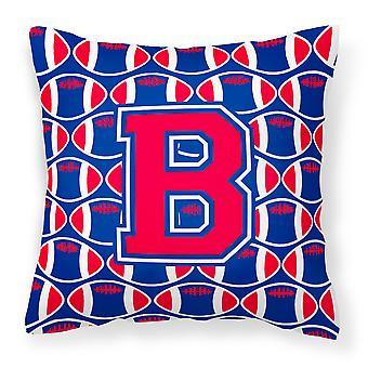 Letter B Football Harvard Crimson and Yale Blue Fabric Decorative Pillow