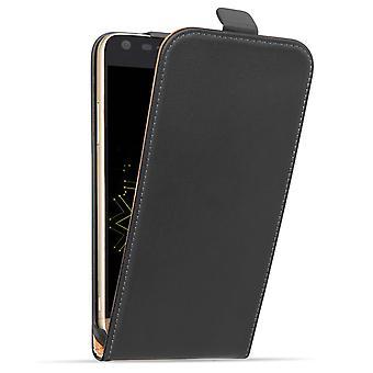 Caseflex LG G5 дело Натуральня кожа флип случае - черный