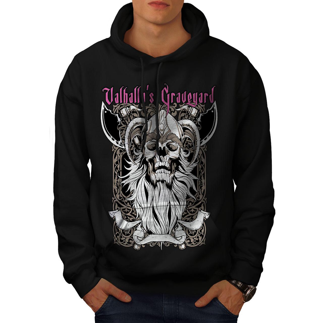 Valhalla Graveyard Men Black Hoodie | Wellcoda