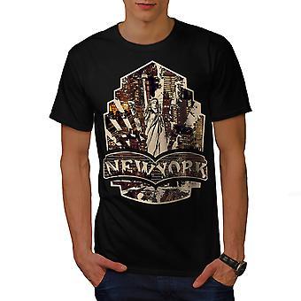 NY Trendy Print Fashion Men BlackT-shirt | Wellcoda