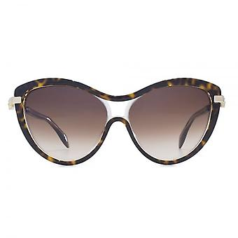Alexander McQueen Iconic Skull Cateye Sunglasses In Havana On Clear