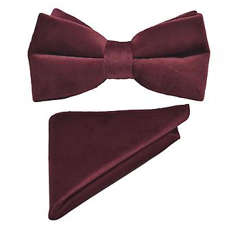 Luxury Burgundy Velvet Bow Tie & Pocket Square Set