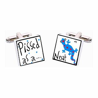 Blue P***ed as a Newt Cufflinks by Sonia Spencer, in Presentation Gift Box. Hand painted