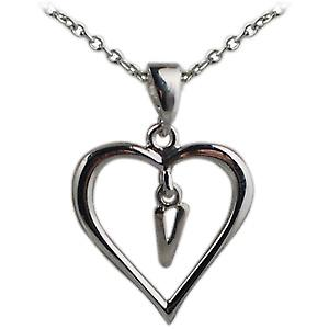 Silver 18x18mm initial V in a heart with Rolo chain