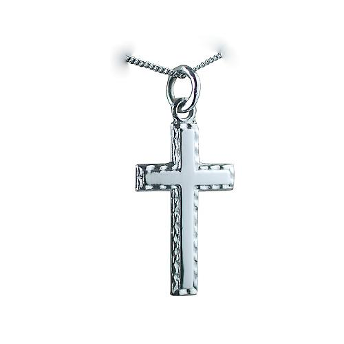 9ct White Gold rhodium plated 25x15mm plain Cross with embossed border on a Curb Chain
