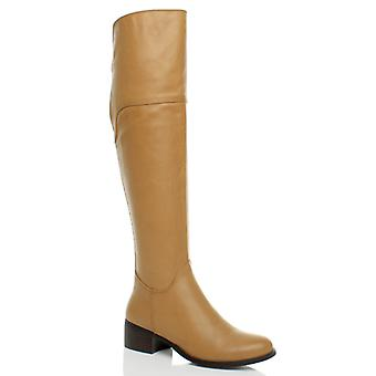 Ajvani dame lav hæl flad pull på chelsea stretch ankelstøvler sko