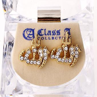Iced out bling earrings box - ALLAH gold