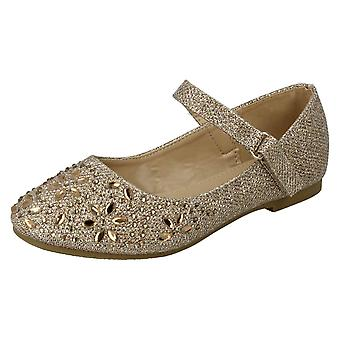 Girls Spot On Hook & Loop Bar Strap Diamante Ballerinas H2484 - Gold Glitter - UK Size 1 - EU Size 33 - US Size 2