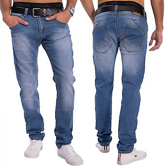 Mens avsmalnande passform tighta jeans slim fit denim, stentvättad blå tube