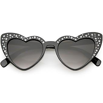 Oversize Rhinestone Heart Sunglasses High Sitting Arms Gradient Lens 51mm