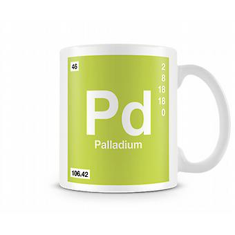 Element symboli 046 Pd - Palladium Wydrukowano kubek
