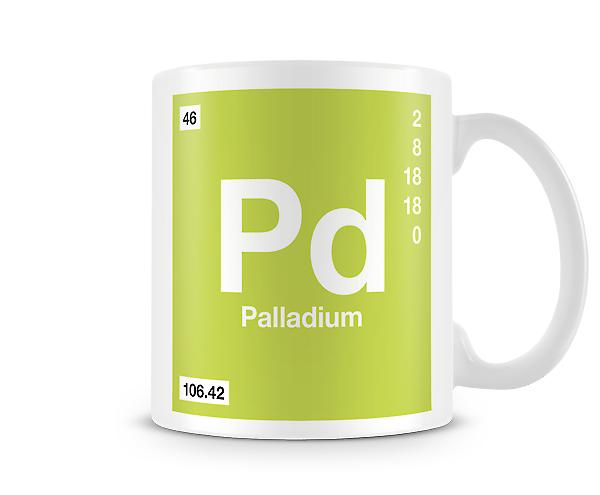 Element symbool 046 Pd - Palladium afgedrukt mok