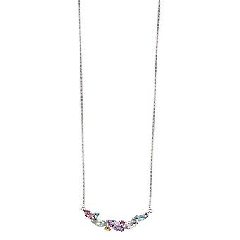 Elements Gold Pastel Mixed Stone Marquise Necklace - Multi-colour/White Gold