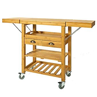 SoBuy Bamboo Kitchen Storage Trolley Cart with Folding Worktop, FKW25-N