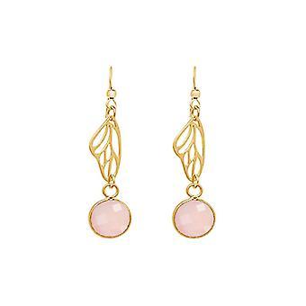 Gemshine - ladies - Orecchini - argento 925 - oro placcato - farfalla Ali - quarzo rosa - rosa - cm 4