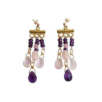 Gemshine - senhoras - candelabro - brincos - dourados - ametista - gotejamento - quartzo rosa - rosa - violeta - 4cm